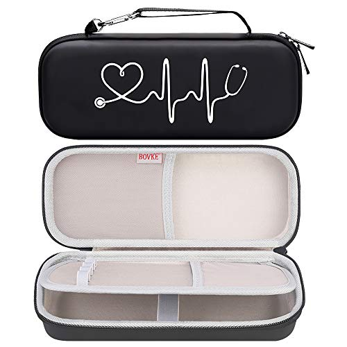 Bovke Stethoscope Hard Case for 3M Classic III, Lightweight II S.E, Cardiology IV, MDF Acoustica Deluxe Stethoscopes - Extra Room fits Nurse Accessories Penlight and EMT Medical Scissors, Black