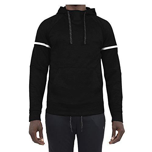 Layer 8 Men's Hoodie Performance Light Weight Training Tech Fleece Athletic Sweatshirt (Large, Black Solid)