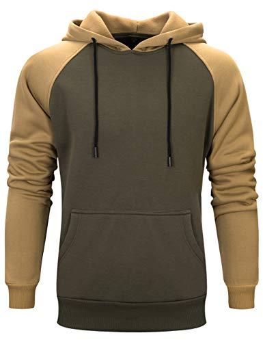 DUOFIER Men's Workout Contrast Raglan Sleeve Shirt Hooded Sweatshirt, Green-M