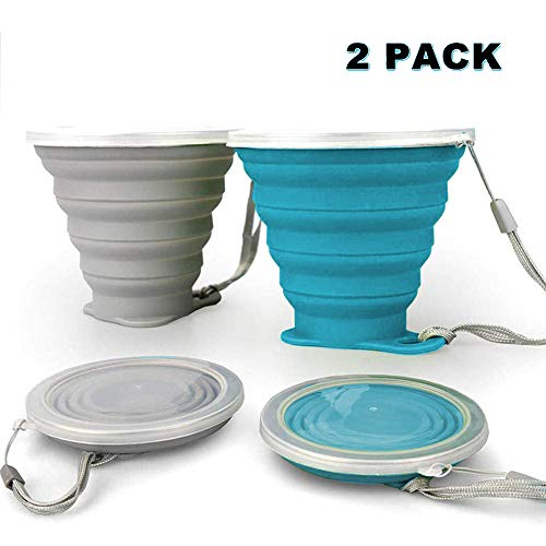 JBER Silicone Collapsible Travel Cup, Silicone Folding Camping Cup with Lids Expandable Drinking Cup Set BPA Free...