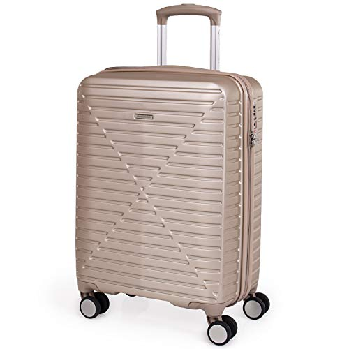 Hard Shell 21 Inch Suitcase with Wheels - Cabin Approved Jet2 EasyJet BA Luggage by London Fog   Fits Into 56x45x25 Hand Carry On Cage   21' 40 litres Light 2.9kg (Small, Champagne)
