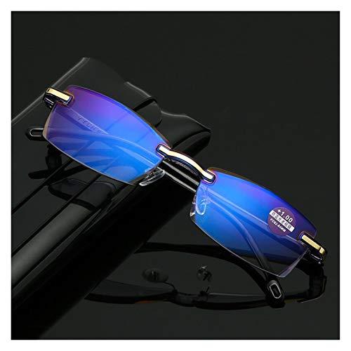 JINSUO Gafas de Lectura cuadradas sin Marco para Hombres para Mujeres Anti Azul Claro Lentes de computadora Vista lejano Lector Lector Gafas (Color : +300, Talla : Negro)