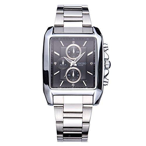LONGBO Weinlese-quadratische Form-Vorwahlknopf-Quarz-Edelstahl-Uhr-Milit?rmann-wasserdichte Uhren Retro- leuchtende Mens-Armbanduhr-Schwarzes