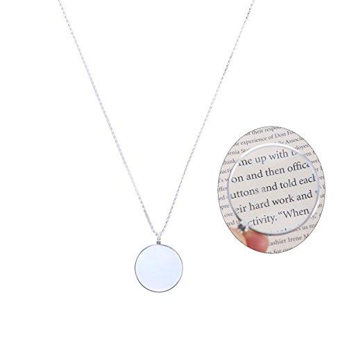 LUOEM Lupe Halskette Optical Anhänger Halskette Monocle Halskette Lupe mit 5X Lupe Objektiv (Silber)