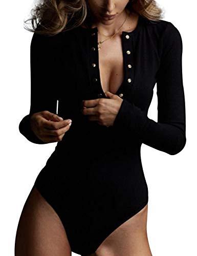 Legou - Body a maniche lunghe da donna con bottoni in maglia - nero - (Large)