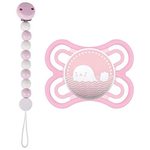 MAM Perfect Silikon Schnuller 0-6 Girl // inkl. Sterilisiertrasportbox // HEIMESS Schnullerkette Holzkette Perlen rosa & weiss