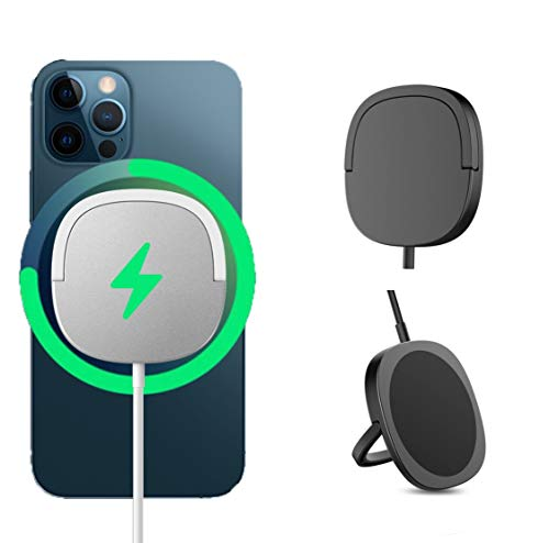 magsafe充電器 スタンド機能 薄型 15W iPhone 12 シリーズ 対応 マグネット ワイヤレス充電器 急速 磁気充電 最大15W出力 (ブラック)