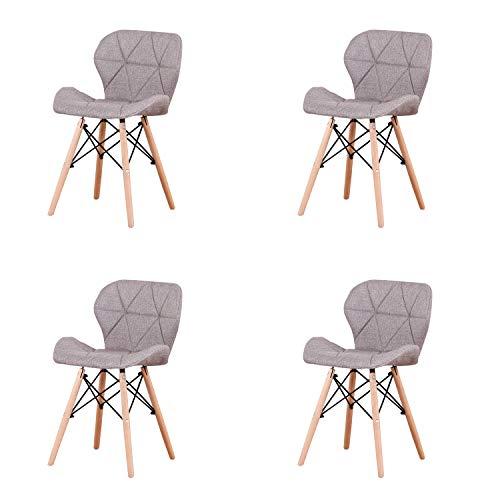 MUEBLES HOME, Set di 4 sedie da pranzo in stile moderno, con seduta e schienale rivestiti in lino,...