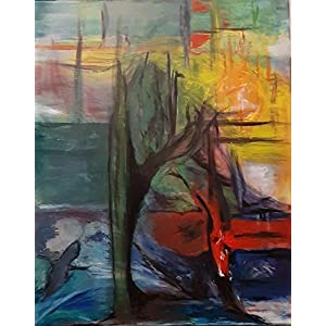 """Herbstsonne"", handgemaltes UNIKAT""SILVI´s ARTSHOP | Sylvia Ettlinger) I 40 x 50cm | Leinwandbild handgemalt | Mixed Media auf Leinwand"