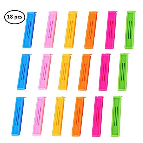 Hebudy Clips de sellado para bolsas pinzas de alimentos pinzas de plástico pinzas clip clip hebilla de almacenamiento Clips de sellado abrazadera 18 piezas