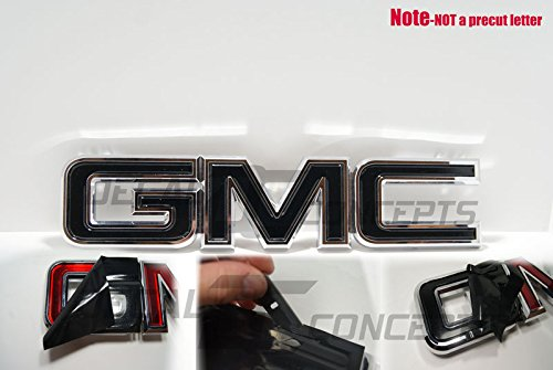 Decal Concepts GMC Sierra/Yukon Gloss Black Front Grill Emblem Overlay Wrap Kit (07-17)
