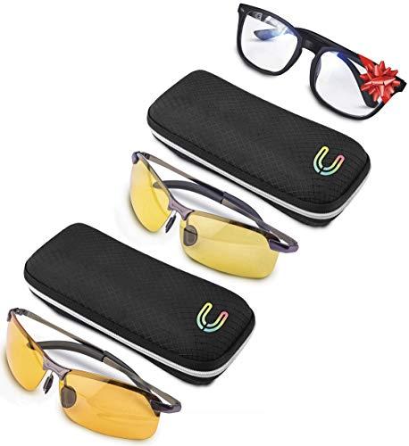 UVS Snake [Pack de 2] Gafas polarizadas de metal para conducir de noche en el coche, la pesca, el deporte, la bicicleta, el juego de PC, PS4 Xbox | Filtro de luz azul | sol UV400 – Favorece el sueño