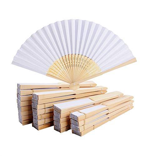 081 Store - 96 VENTAGLI di Legno Bambu' E Carta Bianca per Matrimoni Wedding Sposa Eventi SEGNAPOSTO Chiesa