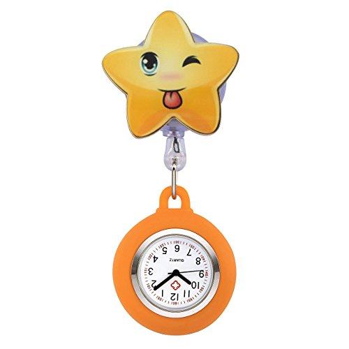 JSDDE Uhren Süß Schwesternuhren Stern Form Krankenschwesteruhr FOB-Uhr Silikon Hülle Pulsuhr Pflegeuhr Tunika Brosche Taschenuhr Ansteckuhr Analog Quarzuhr (Orange)