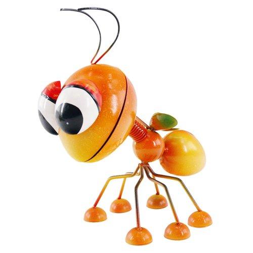 Dekofigur Insekt, Gartenfigur, Metallfigur, Blechfigur, Orange, Höhe ca. 26cm