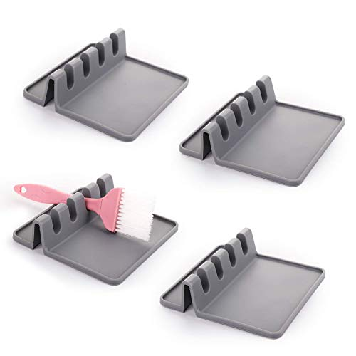 JIAHU Juego de 4 utensilios de cocina de silicona con almohadilla de goteo y 4 ranuras para cuchara libre de BPA