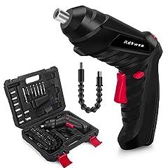Adkwse Sladdlös skruvmejsel,Batteriborruppsättning,3,6V Mini Sladdlös slagborrmaskin, batteriborr med 1.3Ah litiumbatteri och LED-ljus,2-Svarvriktning,46 Tillbehör