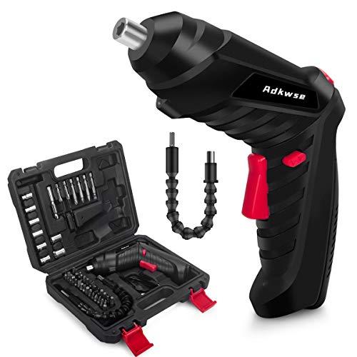 Adkwse Akkuschrauber,Akku Bohrschrauber Set,3,6V Mini Akku-Schlagbohrschrauber,Akkubohrer mit 1.3Ah Lithium Akku und LED-Licht,2-Drehrichtung,46 Zubehörteilen