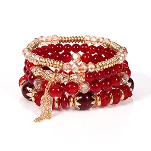 Branets Juego de 4 pulseras con diamantes de imitación y borlas rojas, estilo...