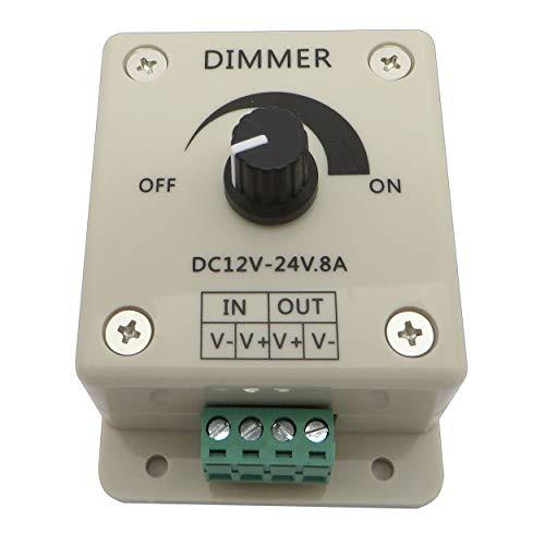 LED Dimmer/Schalter 12V DC Gleichspannung Drehdimmer für alle dimmbaren LED Lampen mit Stecker und Buchse (Dimmer 8A)