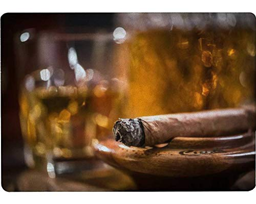 Tempered Glass Cutting Board Cuban cigar smoking in wooden ashtray carafe with Cognac in background Tableware Kitchen Decorative Cutting Board with Non-slip Legs, Serving Board, Large Size, 15' x 11'