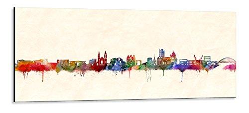 Acrylglas Wandbild Neuss Skyline/Panorama - Acrylglas mit Alu-dibond-Aufhängesystem - Farbe (div. Größen) - Kunst Druck auf Acrylglas 50x140cm