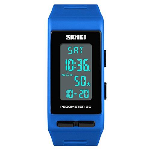 FeiWen Multifunktional Outdoor Sport Digital Uhren für Herren und Damen Schrittzähler Kalorie LED Plastik Running Armbanduhren mit Kautschuk Band Alarm Datum Unisex (Blau)