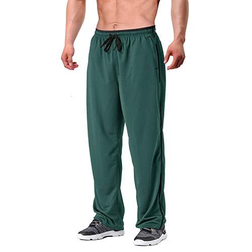 EKLENTSON Herren Mesh Trainingshose Jogginghose Loose Fit Bodybuilding mit Reißverschlusstaschen Armee Grün Schwarz, 2XL