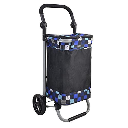 BIAOYU Carro de compras plegable Carros de comestibles resistentes con 2 ruedas, carro utilitario para comestibles, herramientas de equipaje, oficina reutilizable (color: azul cielo)