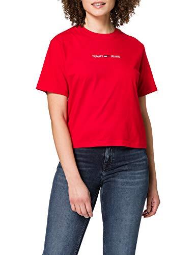 Tommy Jeans TJW BXY Crop Linear Logo tee Camiseta, Carmesí intenso, M para Mujer