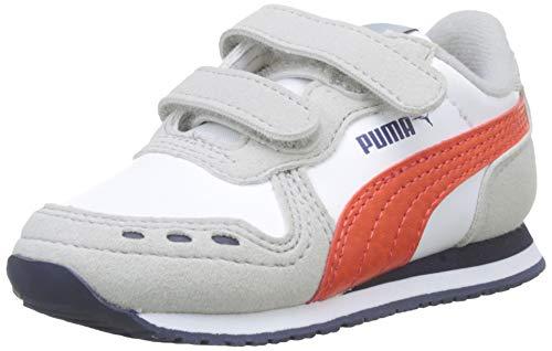 Puma Cabana Racer SL V Inf', Scarpe da Ginnastica Unisex – Bambini, Bianco White-Gray Violet-Cherry Tomato-Peacoat, 27 EU