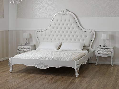 SIMONE GUARRACINO LUXURY DESIGN Lit Double King Size Bonita Style Baroque Moderne Blanc laqué détails Feuille Argent Similicuir Blanc Boutons Crystal SW