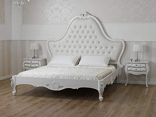 SIMONE GUARRACINO LUXURY DESIGN Cama matrimonial Bonita Estilo Barroco Moderno King Size Color Blanco Lacado Detalles Hoja Plata Eco-Piel Blanca Botones Crystal Sw