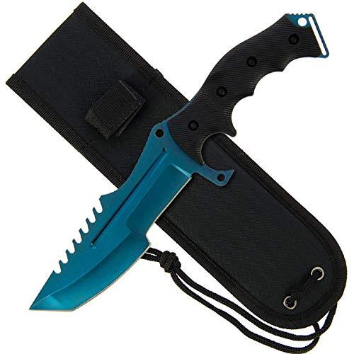 g8ds Huntsman Style Knife mit Gummigriff und Blue Edge Blade (934) Messer mit Blauer Klinge