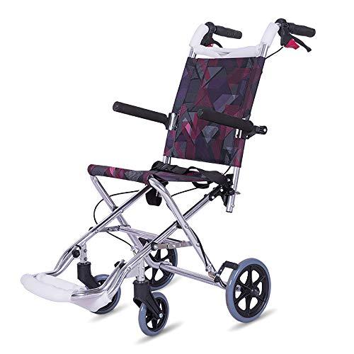 HSRG Ultra lichtgewicht opvouwbare rolstoel, met lange handgrepen en draagtas draagbare rolstoel voor ouderen, gehandicapten