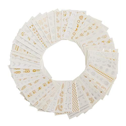 Frcolor 30 Hojas Pegatinas de Uñas de Plata Dorada, Calcomanías de Arte Del Clavo DIY Decoración de Manicura de Uñas Pegatina (Estilos Mixtos)