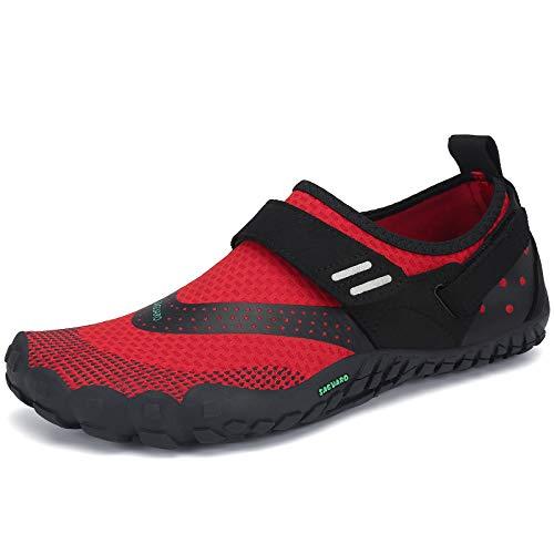 Hombre Mujer Barefoot Zapatillas de Trail Running Minimalistas Exterior Interior Zapatos de Deportes Acuaticos Rojo Gr.38