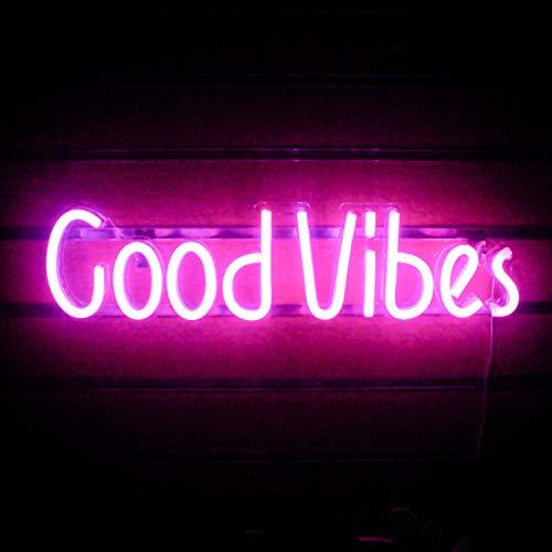 Good Vibes Letreros de neón Pink Good Vibes Words Luces de neón para decoración de habitaciones Lámpara de luz Dormitorio Cerveza Bar Pub Hotel Fiesta Sala de juegos Decoración de arte de pared