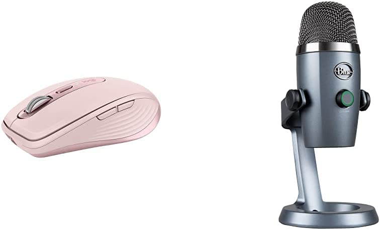 Blue Yeti Nano Professional Condenser USB Microphone - Shadow Grey &Logitech MX Anywhere 3 Compact Performance Mouse - Rose