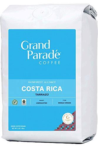 Grand Parade Coffee, 3 LB Unroasted Costa Rica Tarrazu Coffee Beans - Rainforest Alliance Certified - Specialty Arabica - Award Winning La Minita Estate Single Origin - Fair Trade - Fresh Green Coffee