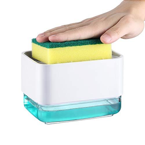 Veelink Dispenser Sapone Liquido Manuale con Spugna per Piatti Dispenser Detersivo Piatti Porta Spugna Erogatore Sapone Piatti Distributore Detersivo Piatti in Plastica (Bianco)