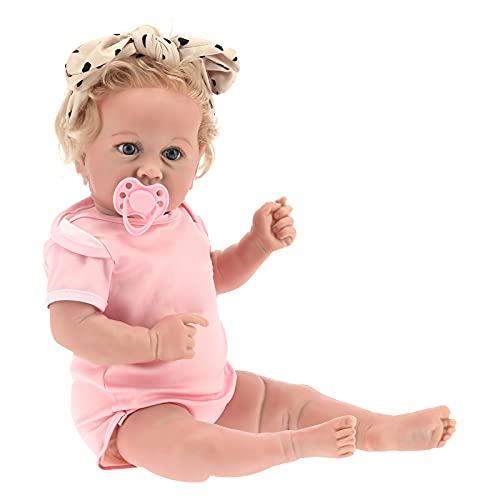 Muñeca Reborn Realista de 20 Pulgadas- Muñeca recién nacida realista Muñecas pesadas hechas a mano Linda muñeca infantil recién nacida de vinilo con biberón y chupete para niños de 3 4 5 6 7 años