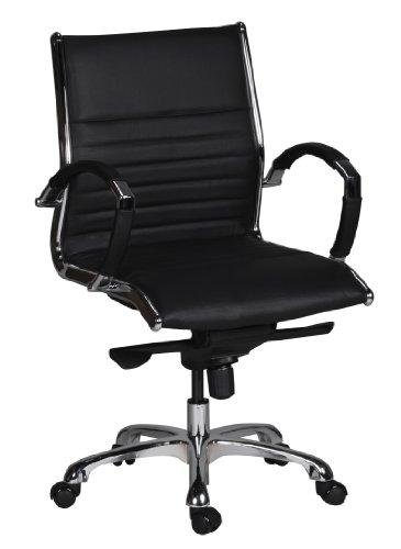 Amstyle Bürostuhl Salzburg 2 Bezug Echt-Leder Design Schreibtischstuhl X-XL 120 kg Chefsessel höhenverstellbar Drehstuhl ergonomisch mit Armlehnen Polster niedrige Rücken-Lehne Wippfunktion schwarz