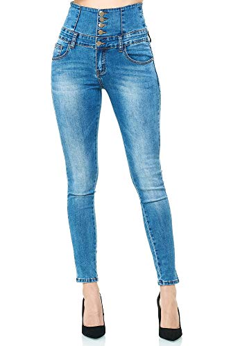Elara Damen Stretch Jeans Skinny High Waist Chunkyrayan YH9419 Blue 46 (3XL)
