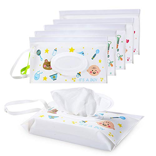 Wet Wipe Pouch Dispenser - Baby Diaper Wipes Carrying Case Reusable & Refillable Portable Travel Outdoor, 6pcs