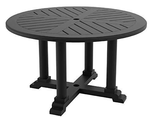 Casa Padrino Mesa de Comedor Negro Mate Ø 130 x H. 75 cm - Mesa de Cocina Redonda Hecha de Aluminio Duradero Mesa de Jardín
