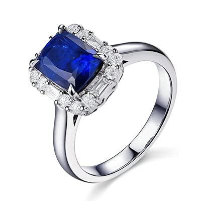 Bishilin Alianza de Boda de Oro Blanco de 18 Quilates para Mujer, Rectángulo Zafiro 2ct Diamante Anillo de Alianza de Boda de Compromiso de Aniversario Azul Plateadotamaño: 8