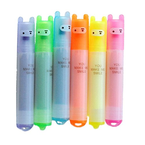 Cosanter 6 Stück Mini Textmarker Set Marker Stifte Filzstifte 6 Farbige