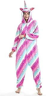 Unicorn Adult Unisex Onesies Animal Cartoon Siamese Pajamas Home Wear Cosplay Pajamas Flannel Sleepwear Home Clothes for Women Men Size XL
