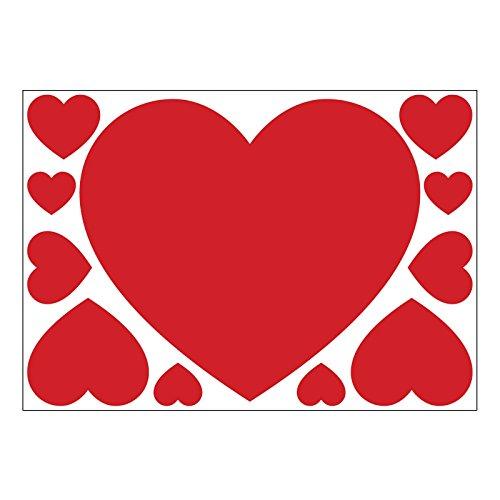 Juego de 11 adhesivos de vinilo autoadhesivos Rojo corazones de San Valentín para paredes, ventanas y pantallas (Grande)